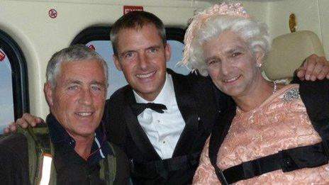 Mark Sutton, dressed as James Bond, and Gary Connery, dressed as the Queen ahead of their parachute jump at the London 2012 opening ceremony