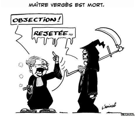 Cartoon of Jacques Verges (republished by permission of the cartoonist, L'Amiral)