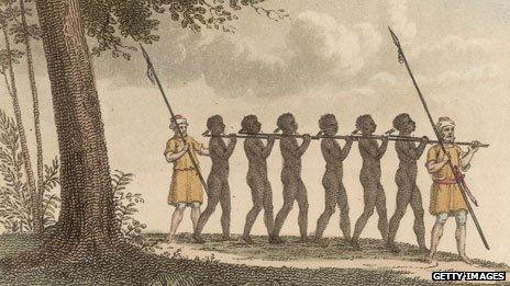 Engraving of slaves from 1821