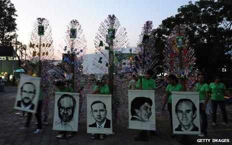 Catholic faithful march with photos of the priests at University in San Salvador, El Salvador, 2009