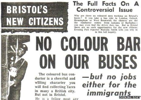 """Newspaper headline reading: """"No colour bar on the buses"""""""