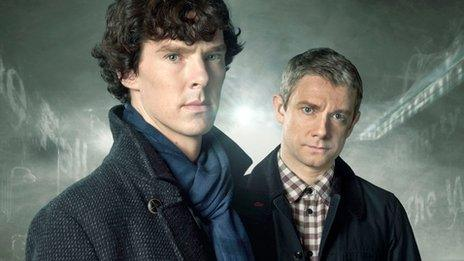 Benedict Cumberpatch (left) and Martin Freeman as Sherlock Holmes and Dr Watson