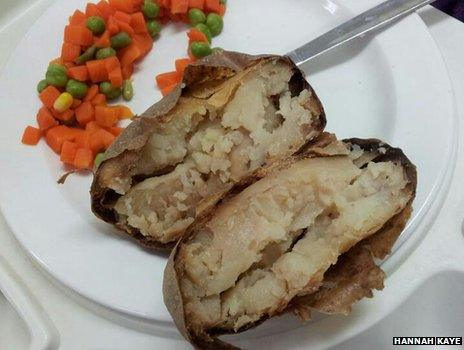 Baked potatoes and cooked vegetables