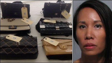 Kankamol Albon and seized handbags