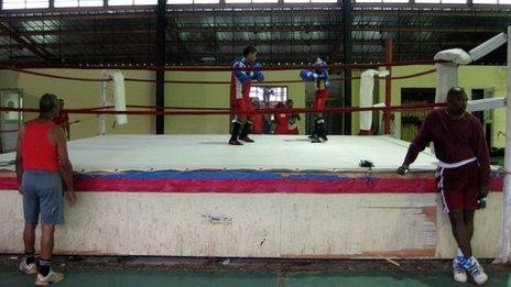 Cuban boxers training at La Finca outside Havana in August 2013