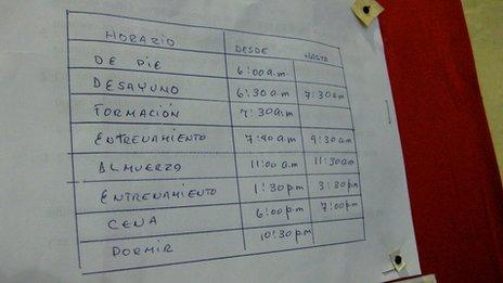 Training schedule pinned to a wall in the gym at La Finca
