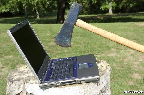 taking an axe to the computer