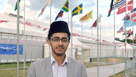 Adeel Shah outside the tent where the Ahmadis will gather