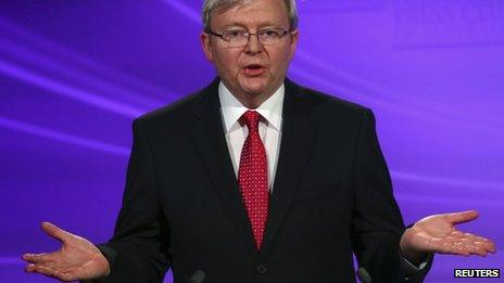 Australia's Prime Minister Kevin Rudd during the leaders' debate (11 August 2013)