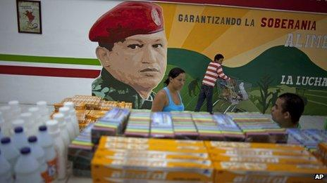 A mural of late President Hugo Chavez adorns a supermarket in April 2013