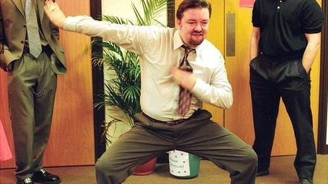 David Brent doing his memorable dance in BBC's The Office