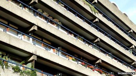 Concrete flats with balconies