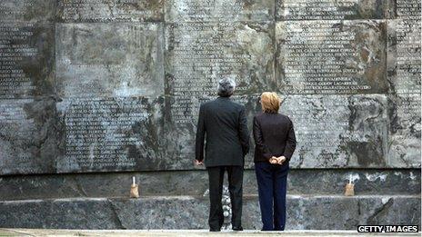 Former president Michelle Bachelet at the Villa Grimaldi memorial in 2006