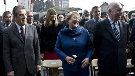 Former president Michelle Bachelet, (2006-2010) (C), Eduardo Frei, (1994-2000) (L) and Ricardo Lagos, (2000-2006) (R)