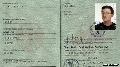 Passport under the name of Jens Karney
