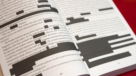Pages from Carney's book, Against All Enemies, showing blacked out text