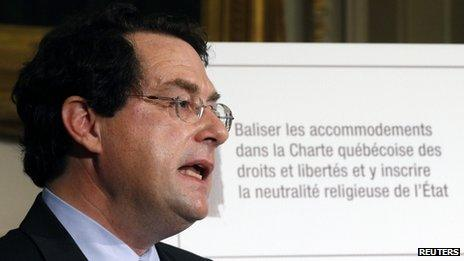 Bernard Drainville, Quebec's Minister of Democratic Institutions, speaks during a news conference to present the Quebec Charter of Values in Quebec City, 10 September 2013