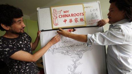 Genealogist Huihan Lie with his assistant Hai Miao