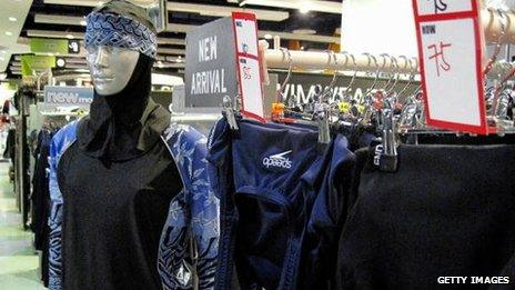 """The Islamic full-length swimming suit known as a """"burkini"""" on sale in Dubai"""