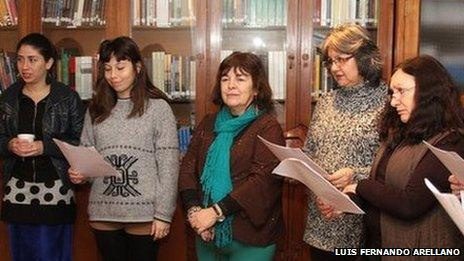 Two daughters of former inmates and ex-prisoners attend a rehearsal at Villa Grimaldi