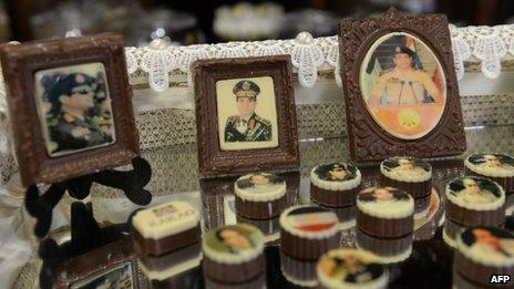Chocolates decorated with portraits of Egypt's army chief General Abdel Fattah al-Sisi are displayed at a shop in Cairo on 27 August 2013.