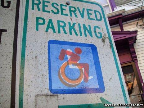 A parking sign with the new symbol super-imposed on the old symbol