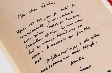"""Early letter from Camus to Satre, with lines such as """"... let me know when you return and we will have a relaxed evening"""""""