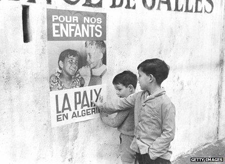 """Poster urging peace in Algeria """"for the children"""""""