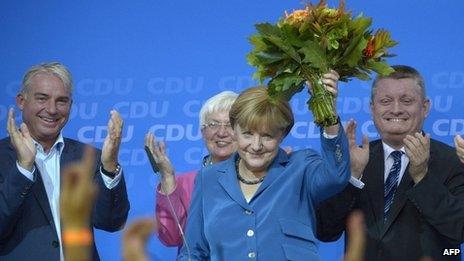 Angela Merkel celebrates election victory