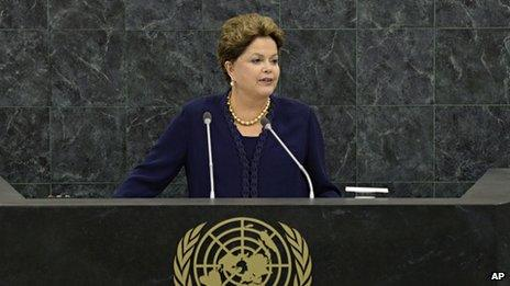 President of Brazil Dilma Rousseff addresses the 68th Session of the United Nations General Assembly on 24 September, 2013