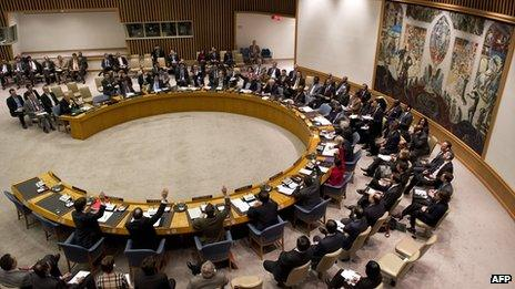 UN Security Council voting on a resolution on Syria on 4 February 2013
