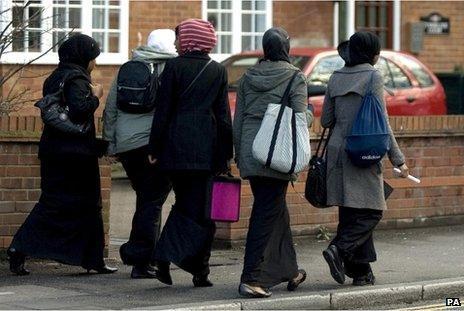 Teenage girls in headscarves in Harrow, Middlesex
