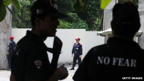 Security officers outside US consulate in Lahore