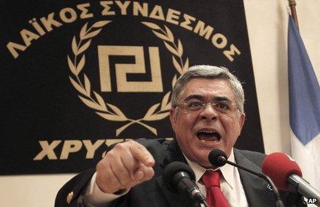 Nikos Mihaloliakos at a news conference in Athens, 6 May 2012