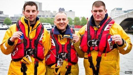 Rescuers Chris Missen, Paul Eastment and Martin Blaker-Rowe