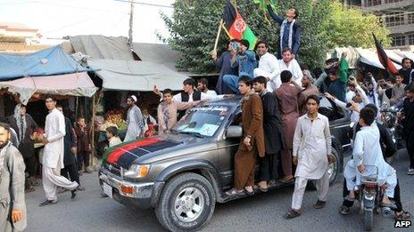Fans celebrate in Jalalabad