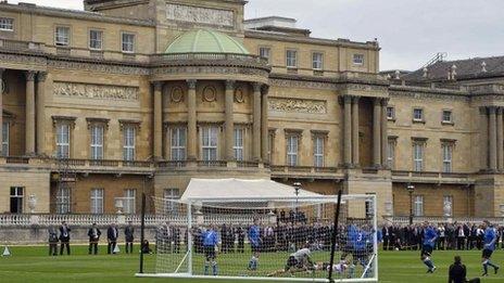 Football match at Buckingham Palace