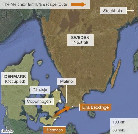 Melchior family escape route map