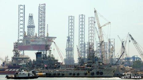 oil rig and shipping in Singapore