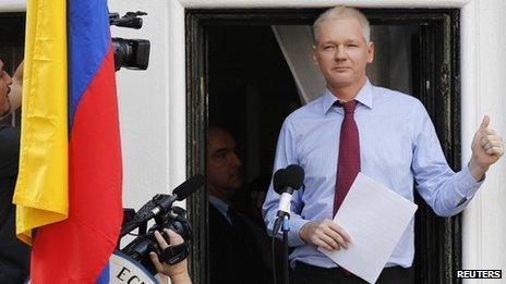 Julian Assange at the Ecuadorean embassy, 2012