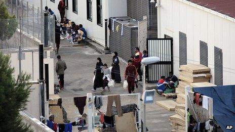 Migrants in temporary camp in Lampedusa. 9 Oct 2013