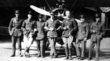 Pilots Cooke, Hollington, Murray, Coote, Godfrey, Stokes and Shephard at Stowe Maries in 1917