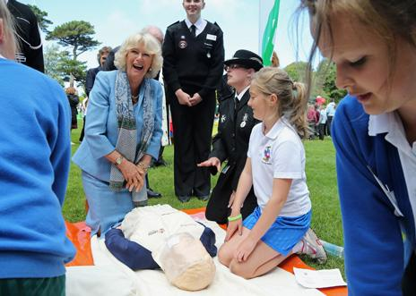 The Duchess of Cornwall with a Resusci Anne dummy