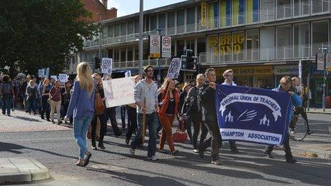 Teachers marching in Southampton