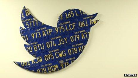 Twitter logo made from California numberplates