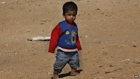 A Syrian child in a refugee camp near Al-Faour, Lebanon (file photo)