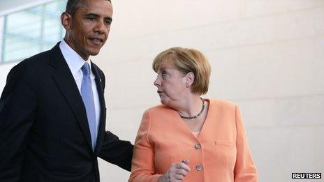 Barack Obama and Angela Merkel at a news conference in Berlin in June