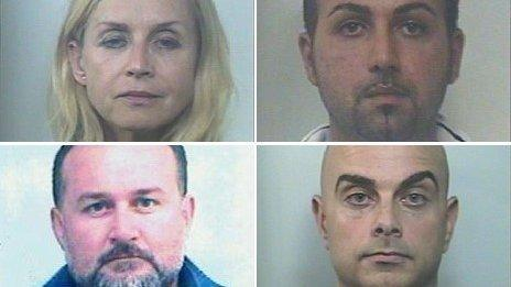 Child abduction suspects arrested by Italian police - clockwise from top left: Larysa Moskalenko, Luigi Cannistraro, Sebastiano Calabrese and Antonio Barazza