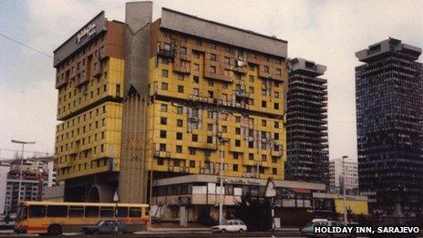 Holiday Inn, Sarajevo showing bomb damage