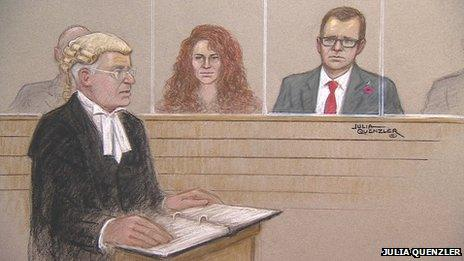 Court sketch of prosecutor Andrew Edis, Rebekah Brooks and Andy Coulson